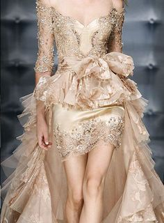 Whimsical champagne wedding gown by  Zuhair Murad for the rebel bride! Enjoy RUSHWORLD boards, WEDDING GOWN HOUND, UNPREDICTABLE WOMEN HAUTE COUTURE and LULU'S FUNHOUSE. Follow RUSHWORLD! We're on the hunt for everything you'll love!