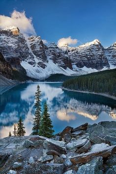 Banff National Park, Canada. Mountain, water, reflection, sparkle, snow, trees, blue sky, clouds, beautiful, breathtaking, Mother Nature, panorama, photo.