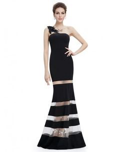 One Shoulder Ed Evening Party Dress With Illusion Panels Ever Pretty Prom Dresses