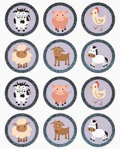 The Farm: Free Printable Mini Kit. Farm Cupcake Toppers, Farm Animal Cupcakes, Farm Animal Party, Farm Animal Birthday, Barnyard Party, Farm Birthday, Farm Party, Cupcake Wrappers, Bottle Cap Crafts