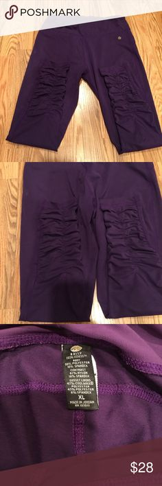 Bally ruffled purple leggings women size XL Only worn a few times, in great condition, no rips tears or stains, ruffled up to the mid-calf, super cute, soft and bit stretchy, good for the gym, working out or for everyday, size XL but fits like a large, comes from a pet/ smoke free home, fast shipping, same pair of leggings in the color teal in my closet. Bally Pants Leggings