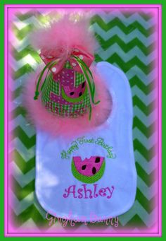 ULTIMATE WATERMELON First  Birthday Hat and BIB  by ginghambunny