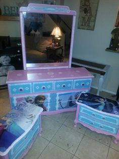 Another Beautiful Frozen Dresser And End Table Redos Like Us On Facebook  Imagine Your Furniture