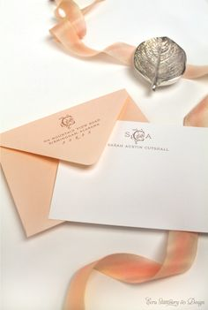 Custom Photo Birth Announcements: Welcome, Baby Monogram Thank You Cards by ECRU Stationery & Design