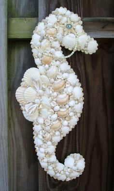 BABY SHOWER~Seahorse made out of Shells.