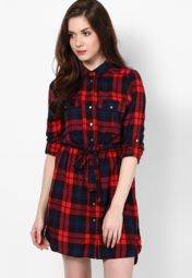 0a4caa0d15f Buy River Island Red Colored Checked Shift Dress Online - 3073958 - Jabong