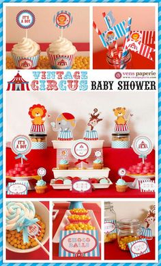 circus baby shower | Vintage Blue Carnival Circus Baby Shower Package by venspaperie, $35 ...