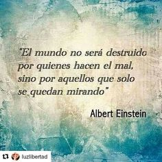 """#Repost @luzlibertad with @repostapp  """"El mundo no será destruído por quienes hacen el mal sino por aquellos que solo se quedan mirando"""" Albert Einstein  Nunca te detengas sigue adelante!!!! #motivation #body #instagram #trainer #coach #business #fitness #athletic #mind #startuplife #insight  #gym #workout #fit #meta #strong #fitfam #personaltrainers #sportracker #nike #mindset  #healthy #instacool #love #peace #health"""