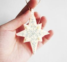 Christmas snowflake ornament embroidered by InspirationalGecko