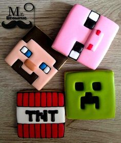Minecraft Cookies Decorated with royal icing sugar cookies. Minecraft Cookies, Minecraft Birthday Cake, Minecraft Cake, Mine Minecraft, Iced Cookies, Cupcake Cookies, Sugar Cookies, Sugar Cookie Royal Icing, Cookie Icing