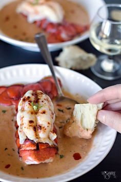 Creamy bisque with smoked salmon and lobster is perfect for dipping crusty bread