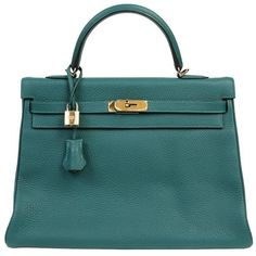 Hermès Malachite Green Clemence 35 cm Kelly Bag ($19,750) ❤ liked on Polyvore featuring bags, handbags, plastic handbags, green plastic bags, hardware bag, green purse and green handbags