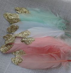 Gold Glitter Dipped Feathers  Boho Crafts  by WildOneFeathers