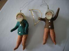 2 alte Zwerge oder Weihnachtsmänner gefilzt mit Papierkopf Wichtel | eBay