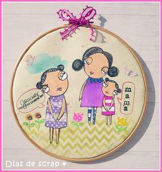 Bastidor para el día de la madre con sellos de Vera Lane Scrap, Pin Cushions, Decorative Plates, Mom, Stamps, Blue Prints, Manualidades, Mothers