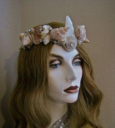 Mermaid Crown V Headband Headpiece Genuine Shells by MorticiaSnow