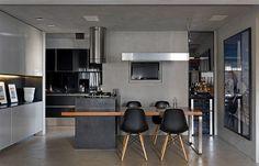 cozinha-cinza-e-preta-com-mesa