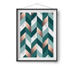 Teal Copper Printable Art Geometric Print by PrintAvenue on Etsy