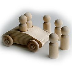 Original Unfinished Pine 2 Seater Car WITH 6x 6cm by Troodlecraft