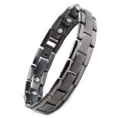 Brand New Mens Gunmetal Titanium Magnetic Bracelet in Velvet Box with Free Link Removal Tool, (jewlery, tungsten, mens bracelet, hematite bracelet, jewelry, magnetic field therapy, things that --really-- help arthritis, bracelets, bracelet for men)