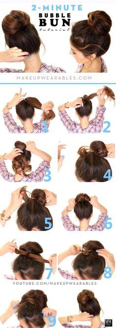 2 Minute Bubble Bun Hairstyle diy long hair how to diy hair hairstyles hair tutorials easy hairstyles