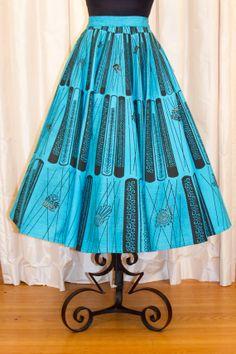 1950's Circle Skirt // Deadstock Mokambo Turquiose Mexican Aztec Design Circle Skirt