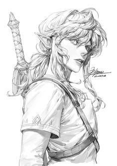 Link - ArtStation - Line Drawing, pilyeon . Character Sketches, Character Drawing, Art Sketches, Animation Character, Manga Art, Anime Art, Anime Sketch, Character Design Inspiration, Line Drawing