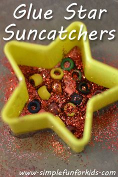 Glue star suncatchers with beads and glitter - a simple, fun craft for toddlers, preschoolers and up. How cute!