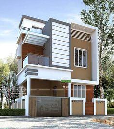 Modern budget oriented double storied house plan Modern Exterior House Designs, Modern Architecture House, Cool House Designs, Exterior Design, 2 Storey House Design, Bungalow House Design, Duplex Design, Flat Roof House, Facade House
