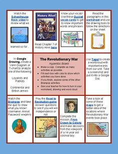 This digital resource for The Revolutionary War can be used by students independently or in various groupings. It is a HyperDoc and includes links and activities for students to view and/or complete. Please be aware that there is an activity that uses Google Drawing and one that links to Brainpop.
