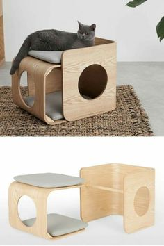 A stylish wooden cat bed made from wood with grey cushions Pet Beds, Dog Bed, Cat Condo, Pet Furniture, Pet Home, Diy Stuffed Animals, Animal Design, Pet Accessories, Cats And Kittens