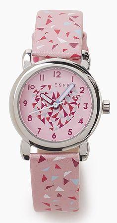 Esprit Kinderhorloge + armband Pink Triangle ES906494009. Vrolijk meisjeshorloge in de kleuren roze, paars, wit en lichtblauw. De roze wijzerplaat heeft een leuk hartje op de plaat en duidelijke tijdaanduiding. De PU lederen band is roze met vrolijke driehoekjes. Het sluit door middel van een gespsluiting. Bij het horloge krijg je een leuk felroze armbandje met een sterretje.