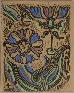 "Walter Inglis Anderson (1903-1965), ""Flowers,"" 20th c., woodblock print,"