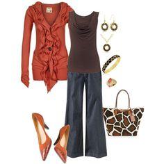 Trouser Pants, Ruffle Cardi and Leopard Purse.  Cute :)