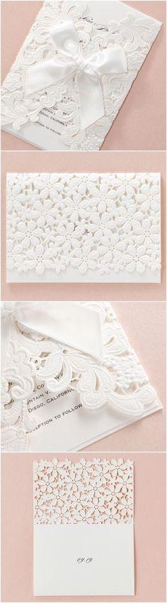 wedding lace embossed lasercut wedding stationery by B Wedding Invitations