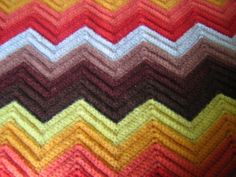 Vintage Afghan Chevron Funky 70s Colors by RSWVintage on Etsy
