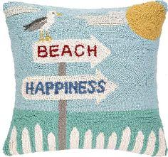 Beach Happiness! Hooked Beach Pillows: http://beachblissliving.com/hooked-beach-pillows/