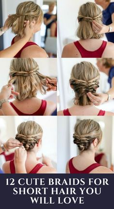 Take your short locks to the next level with these three braided styles! #shorthair #haircuts Short Hair Styles For Round Faces, Cute Hairstyles For Short Hair, Hairstyles For Round Faces, Diy Hairstyles, Short Hair Cuts, Medium Hair Styles, Curly Hair Styles, Simple Hairstyles, Hairstyle Ideas
