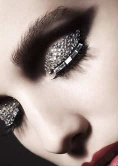 Black and diamonte eyeshadow