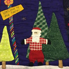 Santa wants to know if you have your tree up?  #christmas #laughyourselfintostitches #applique #christmasquilts #santa