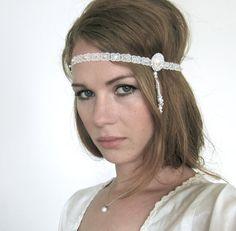 White Silver Art Deco 1920s Great Gatsby Headband - Tiffany's inspired headband from the great Gatsby movie 2013 - Daisy Buchanan