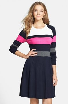 Eliza J Colorblock Fit & Flare Sweater Dress available at #Nordstrom