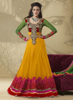 Mustard Net Sizzling Long Anarkali