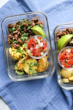 Meal prep breakfast taco bowls - the defined dish whole 30 recipes, real fo Healthy Meal Prep, Healthy Dinner Recipes, Healthy Snacks, Healthy Eating, Breakfast Tacos, Breakfast Recipes, Breakfast Healthy, Recetas Whole30, Whole30 Recipes
