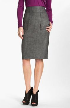 This was another purchase @ Anniversary sale! I will pair with my MK booties & bebe trench (see other pins!)    http://style-bites.com/2012/08/05/style-profile-nordstrom-anniversary-sale/  Halogen® Patch Pocket Pencil Skirt | Nordstrom