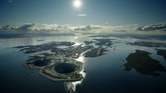 Diavik Diamond Mine on an island in the middle of Lac de Gras, Northwest Territories ... summer picture.