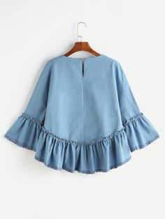 Shop Blue Ruffle Trim Bell Sleeve High Low Denim Top at ROMWE, discover more fashion styles online. Muslim Fashion, Hijab Fashion, Fashion Outfits, Girl Outfits, Casual Outfits, Cute Outfits, Mode Abaya, Kids Frocks Design, Denim Top