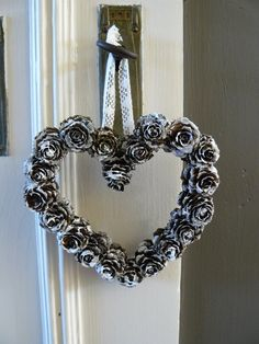 DIY Pine Cone Heart - Pine Cones are a great material for wreaths. We love this heart wreath for a wedding! Online source and sale of pine cones and pine needles. Pine cones for crafts, art and decor. Heart Shaped Pine Cone Wreath Rustic decor Wreath by F Pine Cone Art, Pine Cone Crafts, Wreath Crafts, Pine Cones, All Things Christmas, Christmas Time, Christmas Wreaths, Christmas Decorations, Christmas Ornaments