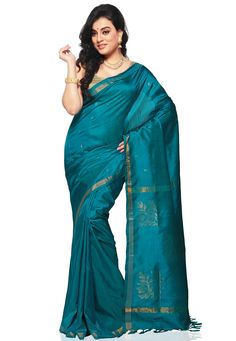 Turquoise Blue Pure Uppada Silk Handloom Saree with Blouse Online Shopping: SSY105