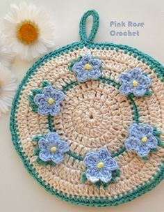 \ PINK ROSE CROCHET /: Pega Panelas Flor Miosótis Forget Me Not